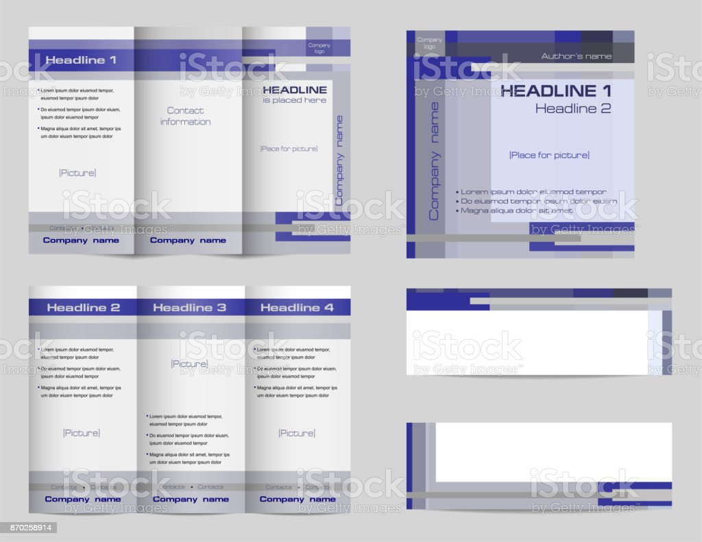 template set of trifold brochure layout square cover and two banners