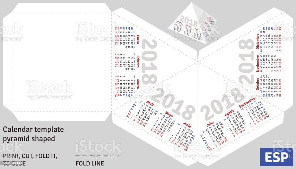 Template Spanish Calendar 2018 Pyramid Shaped Stock Vector Art