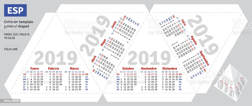 Template spanish calendar 2019 pyramid shaped royalty-free template spanish calendar 2019 pyramid shaped stock vector art & more images of advertisement