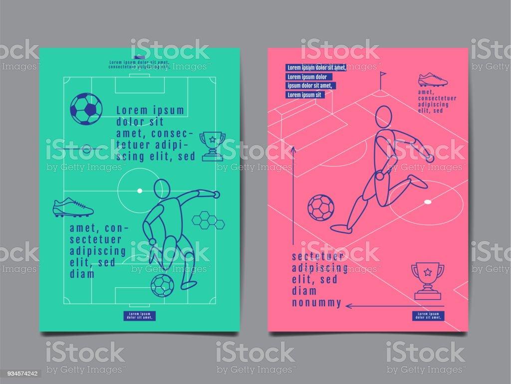 Template Sport Layout Design, Flat Design, Graphic Illustration, Football, Soccer, Vector Illustration. - Векторная графика Баннер - знак роялти-фри