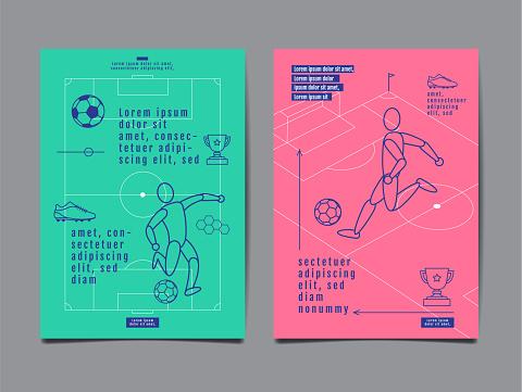 Template Sport Layout Design Flat Design Graphic Illustration Football Soccer Vector Illustration — стоковая векторная графика и другие изображения на тему Баннер - знак