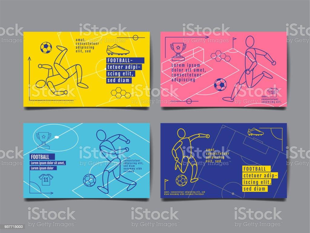 テンプレート スポーツ レイアウト デザイン、フラット デザイン、単一行、図解、サッカー、サッカー、ベクトル イラスト。 ロイヤリティフリーテンプレート スポーツ レイアウト デザインフラット デザイン単一行図解サッカーサッカーベクトル イラスト - アイコンのベクターアート素材や画像を多数ご用意
