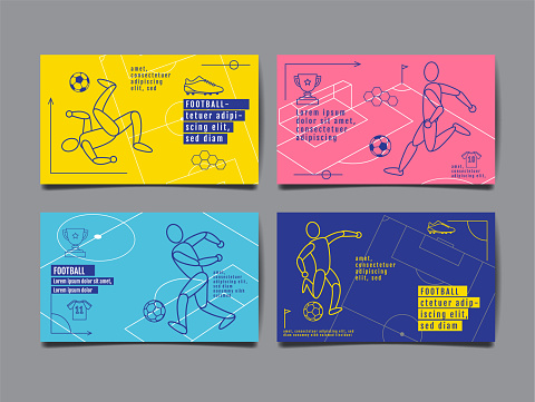 Template Sport Layout Design Flat Design Single Line Graphic Illustration Football Soccer Vector Illustration Stock Illustration - Download Image Now