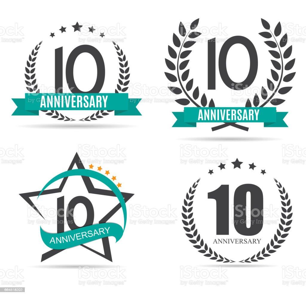 Template Symbol 10 Years Anniversary Set Vector Illustration Stock