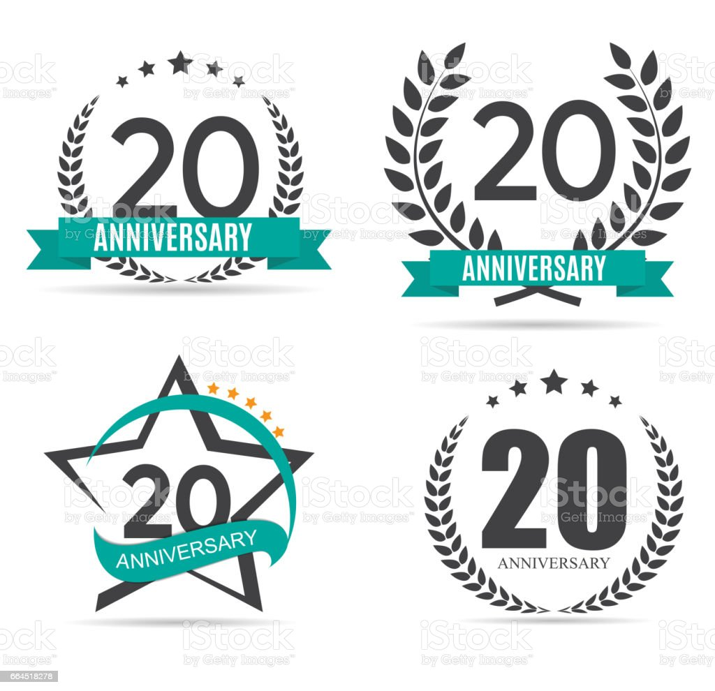 Template Symbol 20 Years Anniversary Set Vector Illustration Stock