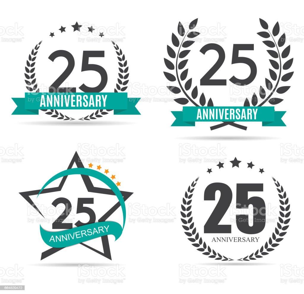 Sjabloon Symbool 25 Jaar Verjaardag Vectorillustratie