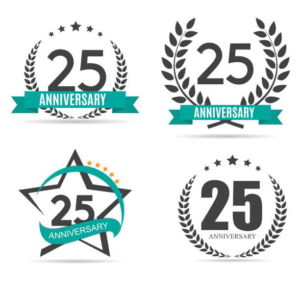 ilustrações, clipart, desenhos animados e ícones de modelo do símbolo 25 anos aniversário vector illustration - data especial