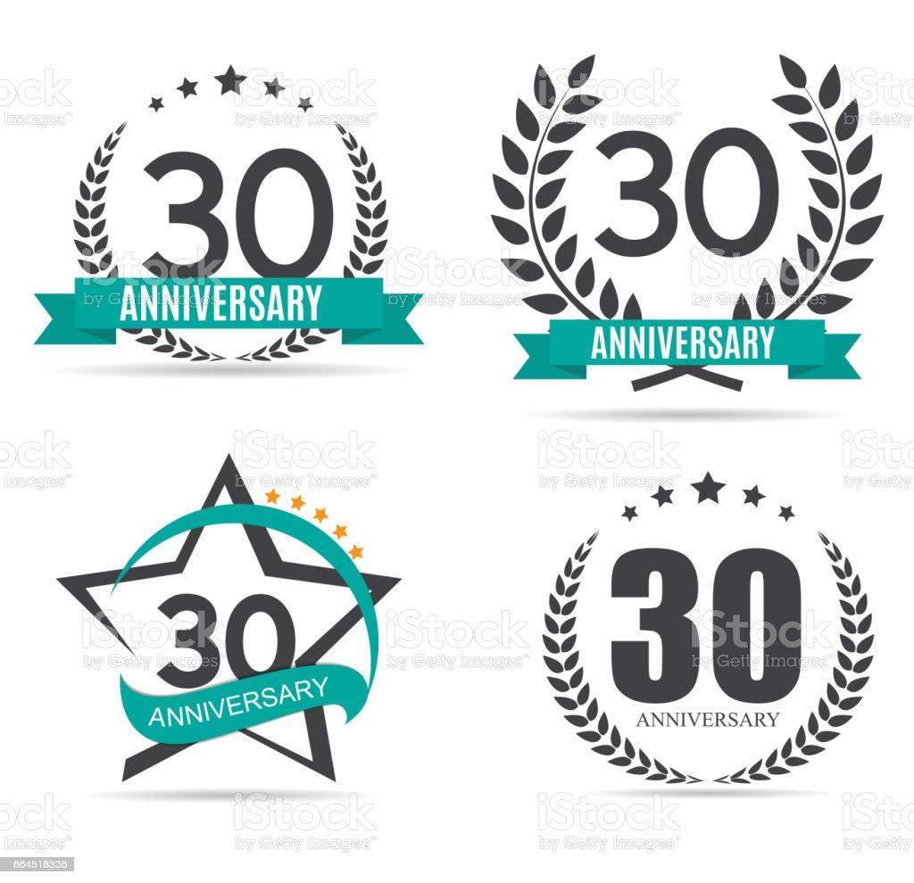 25 30 30 Helloworld: Modèle Symbole 30 Ans Anniversaire Set Vector Illustration