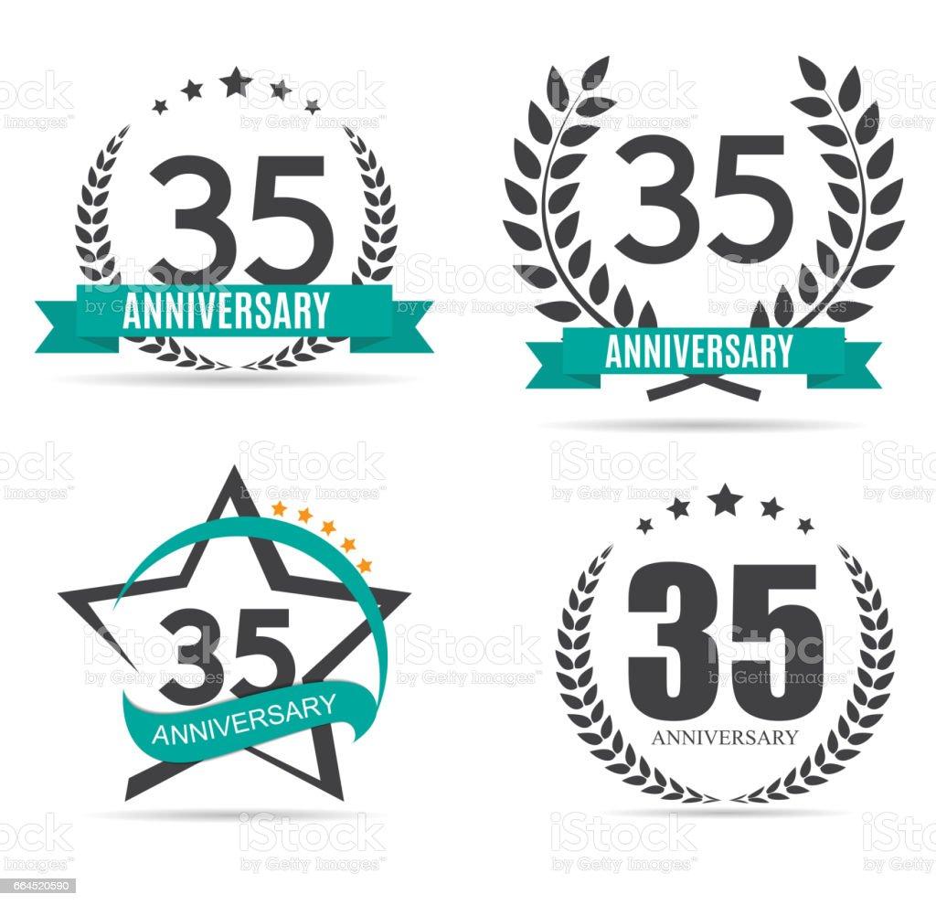 Template Symbol 35 Years Anniversary Vector Illustration Stock
