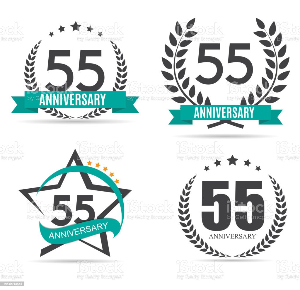 Sjabloon Symbool 55 Jaar Verjaardag Vectorillustratie