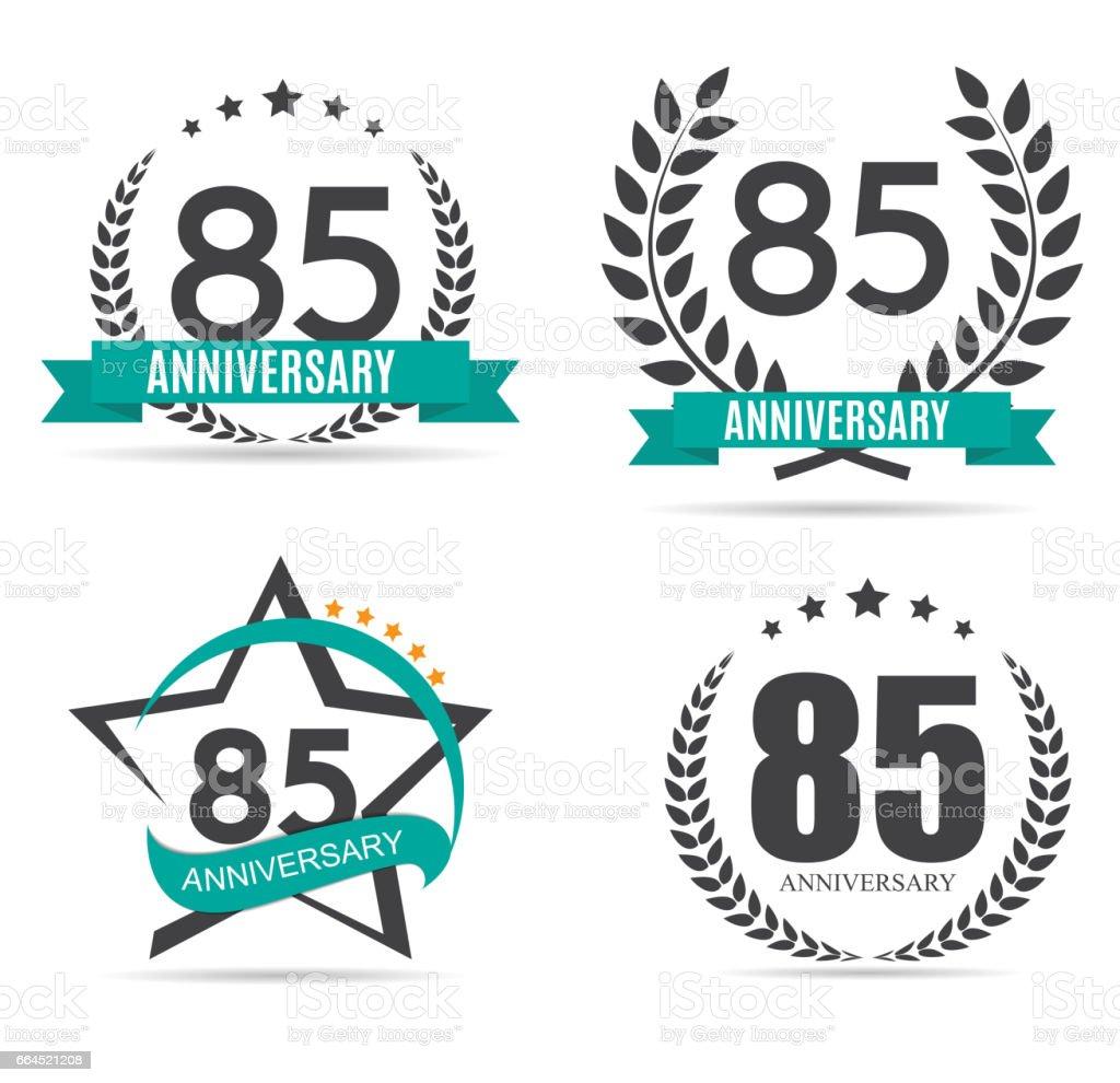 Plantilla de símbolo 85 años aniversario Set Vector ilustración - ilustración de arte vectorial