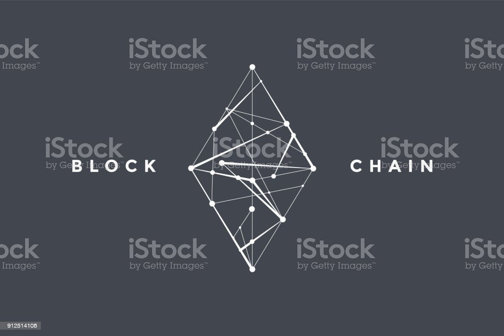 Template symbol for blockchain technology vector art illustration