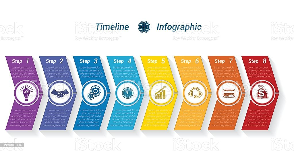 Template Timeline Infographic from colour arrows 8 position – Vektorgrafik