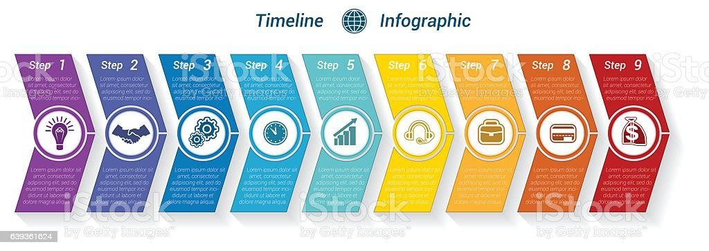 Template Timeline Infographic from colour arrows 9 position – Vektorgrafik
