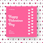 """Template vector banner on the theme of """"Valentine's Day"""", on the background of a seamless pattern in pink. Layout for social media and mobile applications. Design with hearts for email distribution."""