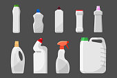Set of detergent bottles or containers, cleaning supplies, washing powder icon. Vector illustration isolated on white background. Mock up or template of packages.