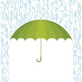 Protect and safety concept. Vector flat illustration of umbrella and rain drops. Infographic and design element for web, webdesign, publish, presentation, brochure, poster, social networks.