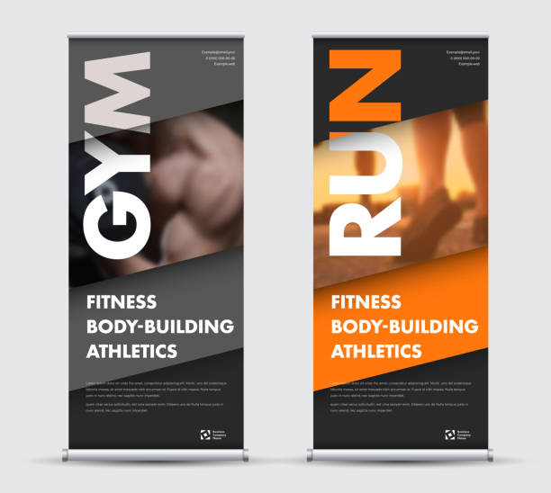 Template vector roll-up banner in geometric modern style with place for photo. Template vector roll-up banner in geometric modern style with place for photo. Design for sports, business with orange, gray and black diagonals. vertical stock illustrations