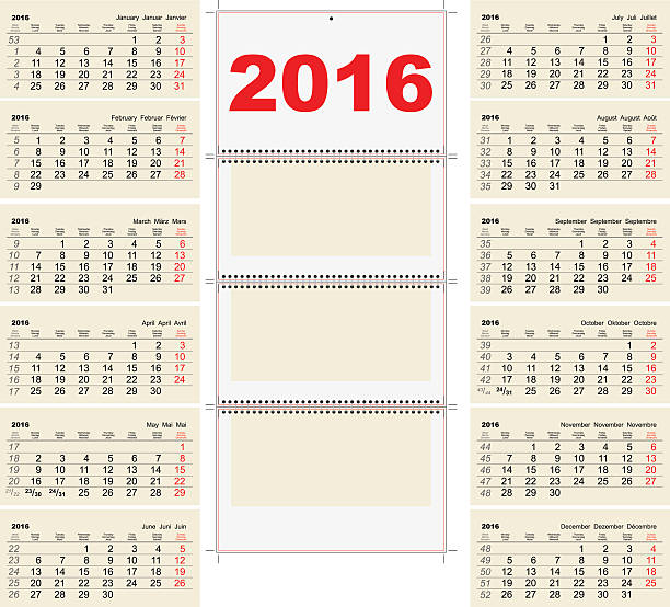 Royalty Free Quarterly Calendar Template Clip Art Vector Images