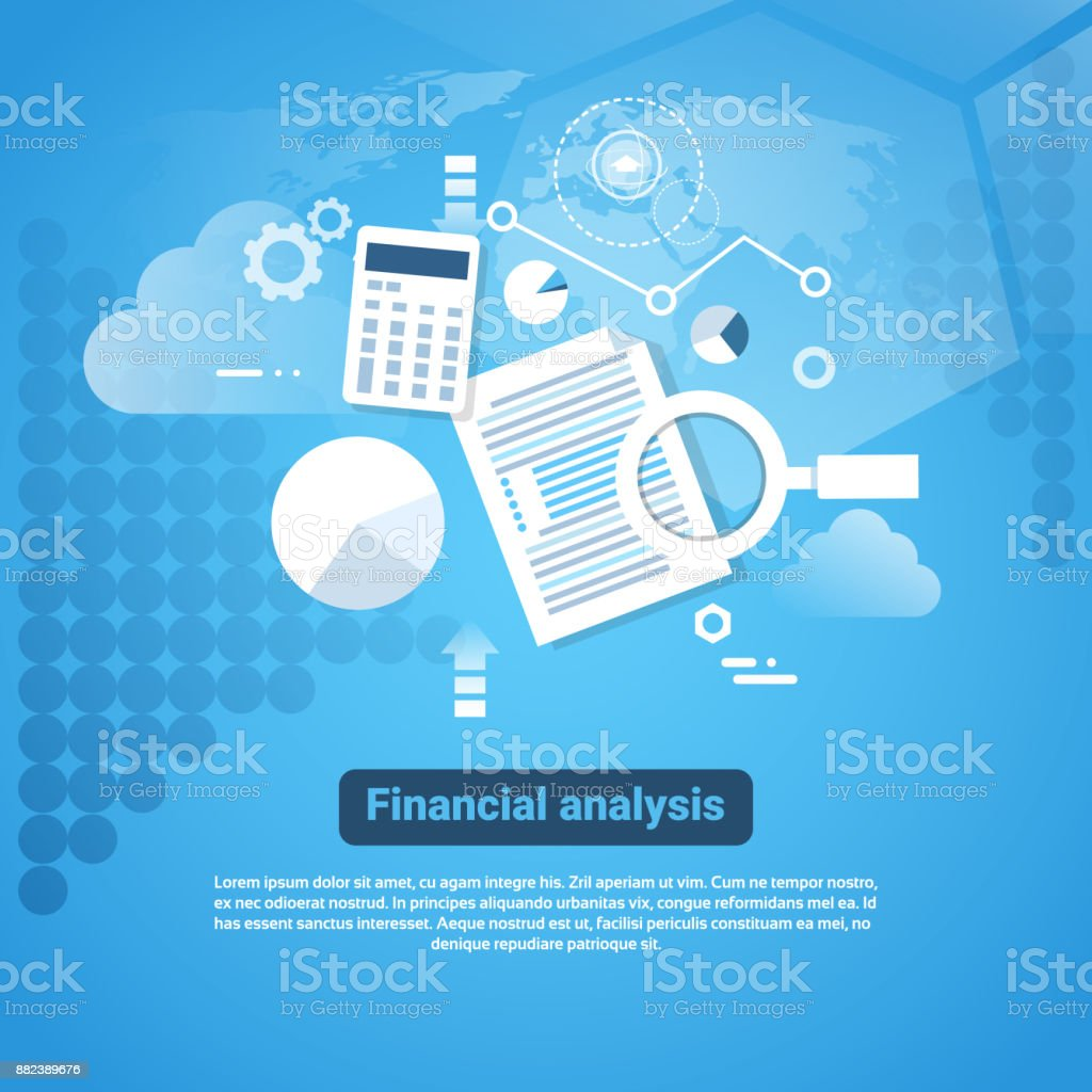 Template Web Banner With Copy Space Financial Analysis Concept vector art illustration