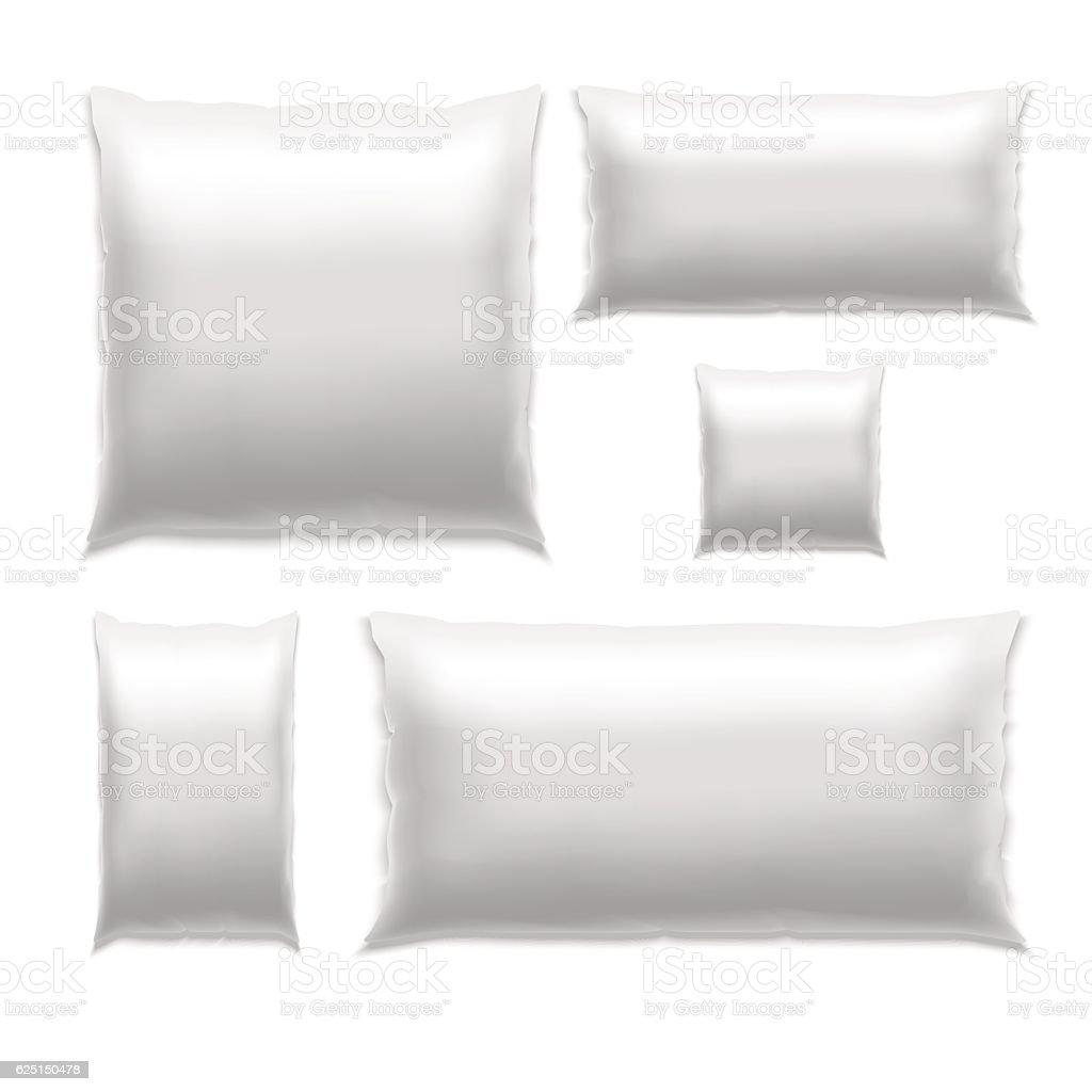 Template White Blank Pillow Set. Vector vector art illustration