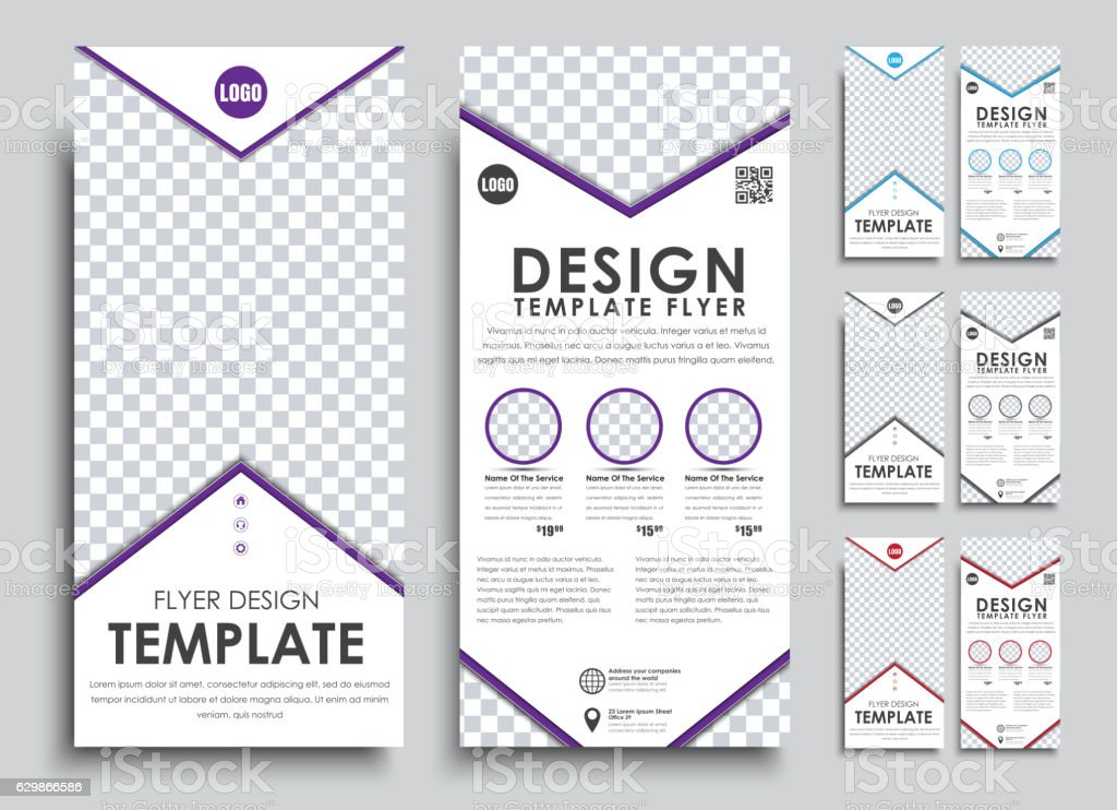 template white flyer size of 210x99 mm qrコードのベクターアート