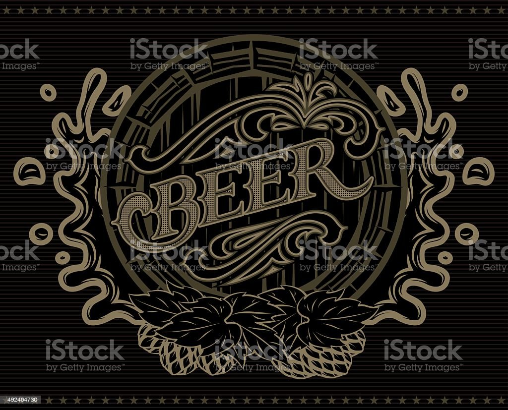 template with a barrel of beer advertising poster menu vector art illustration