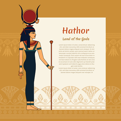 A template with a place for text and an illustration of the ancient Egyptian goddess Hathor. With Hathor's lettering and lotus pattern. EPS 10. Vector illustration