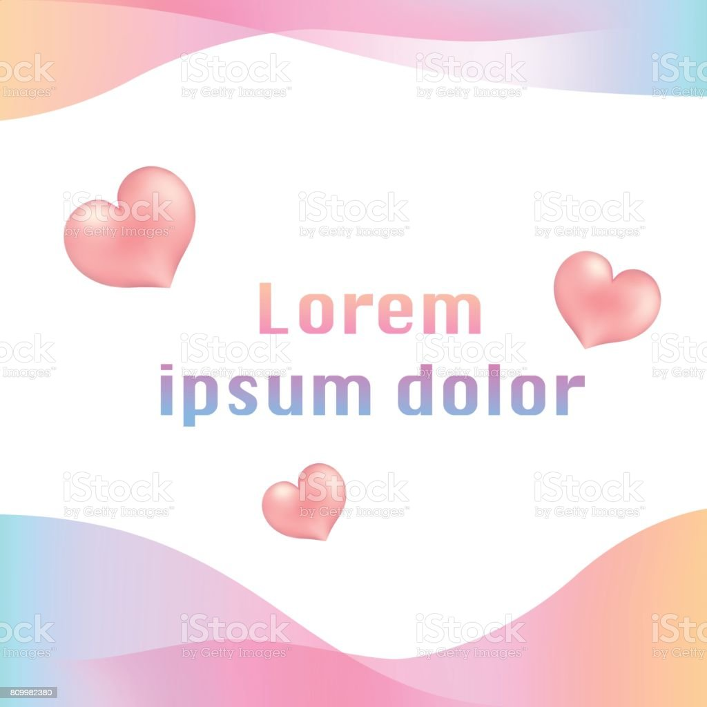 Template With Abstract Gradient Background And Heart Symbols Free