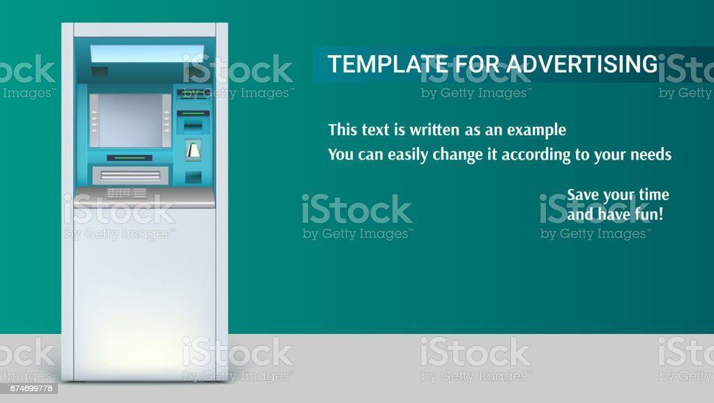 Template with Bank Cash Machine for advertisement on horizontal long backdrop, 3D illustration. ATM - Automated teller machine. Apparatus for withdrawing vector art illustration