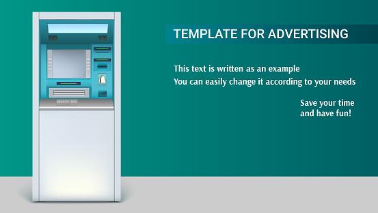 横長い背景3 D イラストレーション広告のテンプレートと銀行現金自動 ...