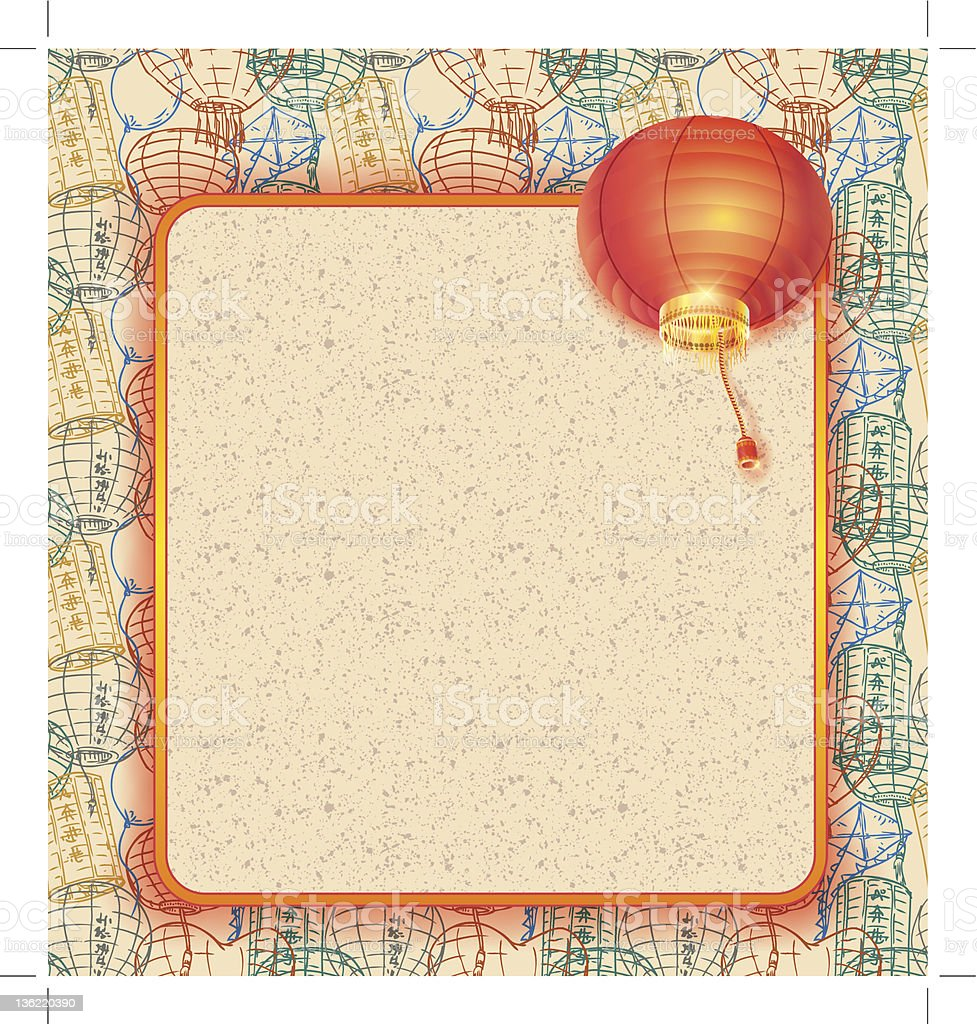 template with chinese lantern vector art illustration