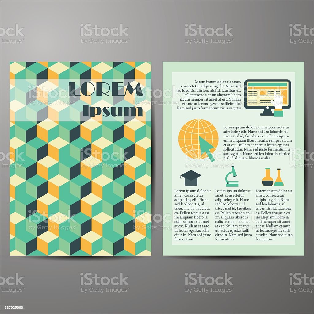 Template with geometric cover for flyers or booklets