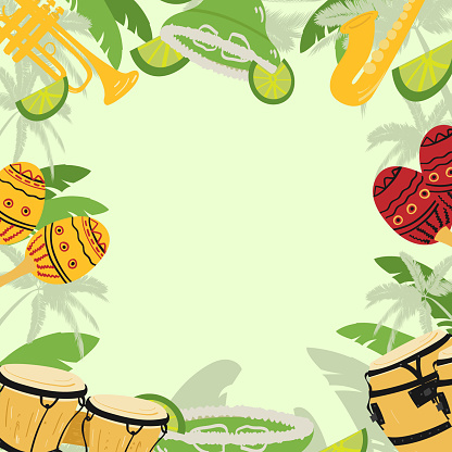 Template with guitar, cuban tres and conga drums, maracas, guiro,  palm leaves and hibiscus flowers. Design for card, flyer, invitation or banner. with space for text.