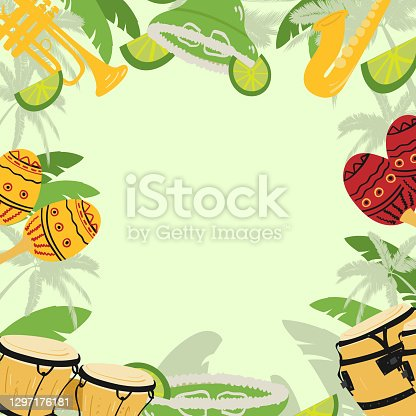 istock Template with guitar, cuban tres and conga drums, maracas, guiro,  palm leaves and hibiscus flowers. Design for card, flyer, invitation or banner. with space for text. 1297176181