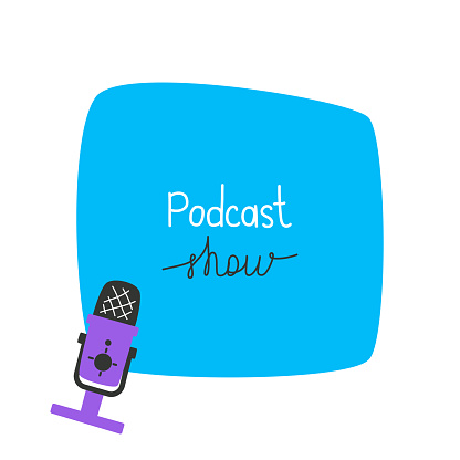 Template with microphone and free space for your text, podcast concept, sound recording, radio.