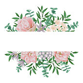 Nature template with pink flowers and greenery. Spring composition, romantic floral mock up wiht text place for greeting, birthday cards, wedding invitation, poster, covers.