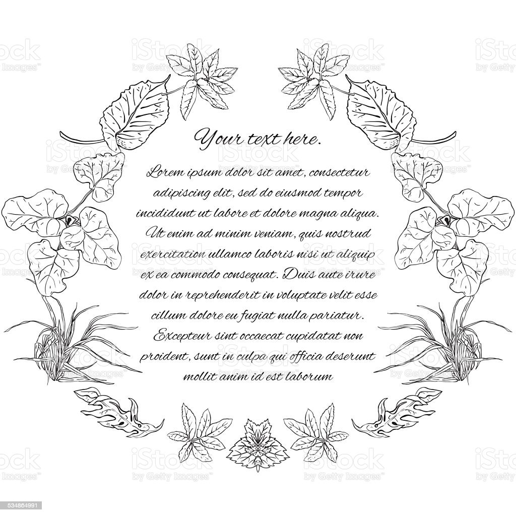 Template With Place For Text Pattern Wreath Of Medicinal Herbs stock ...