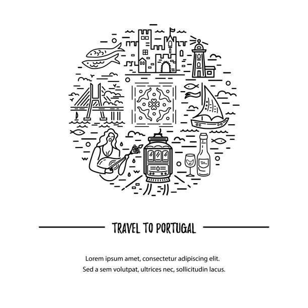 ilustrações de stock, clip art, desenhos animados e ícones de template with portugal symbols circle. - eletrico lisboa