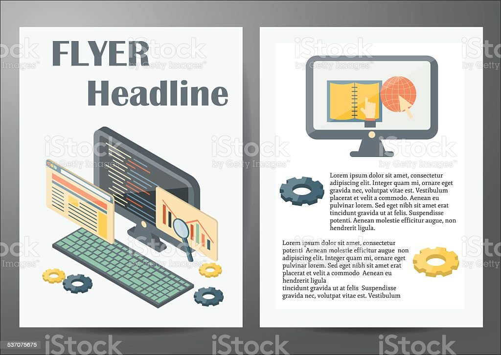 Template with programming isometric objects for flyers or booklets