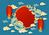 Template with red chinese hanging lanterns, clouds and traditional asian flowers on a blue background. Vector illustration for new year and festive asian banner.