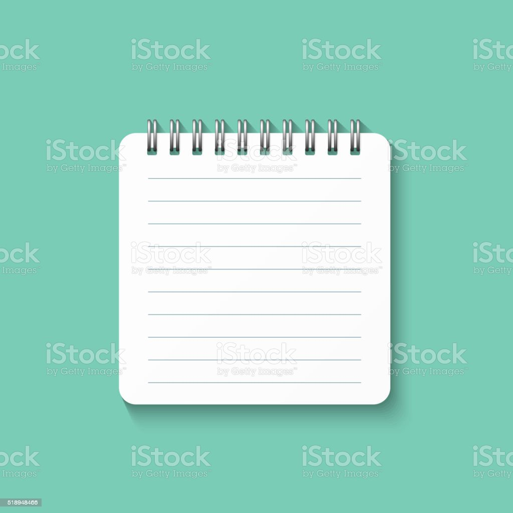 Template with spiral notebook isolated on green background. School diary. vector art illustration