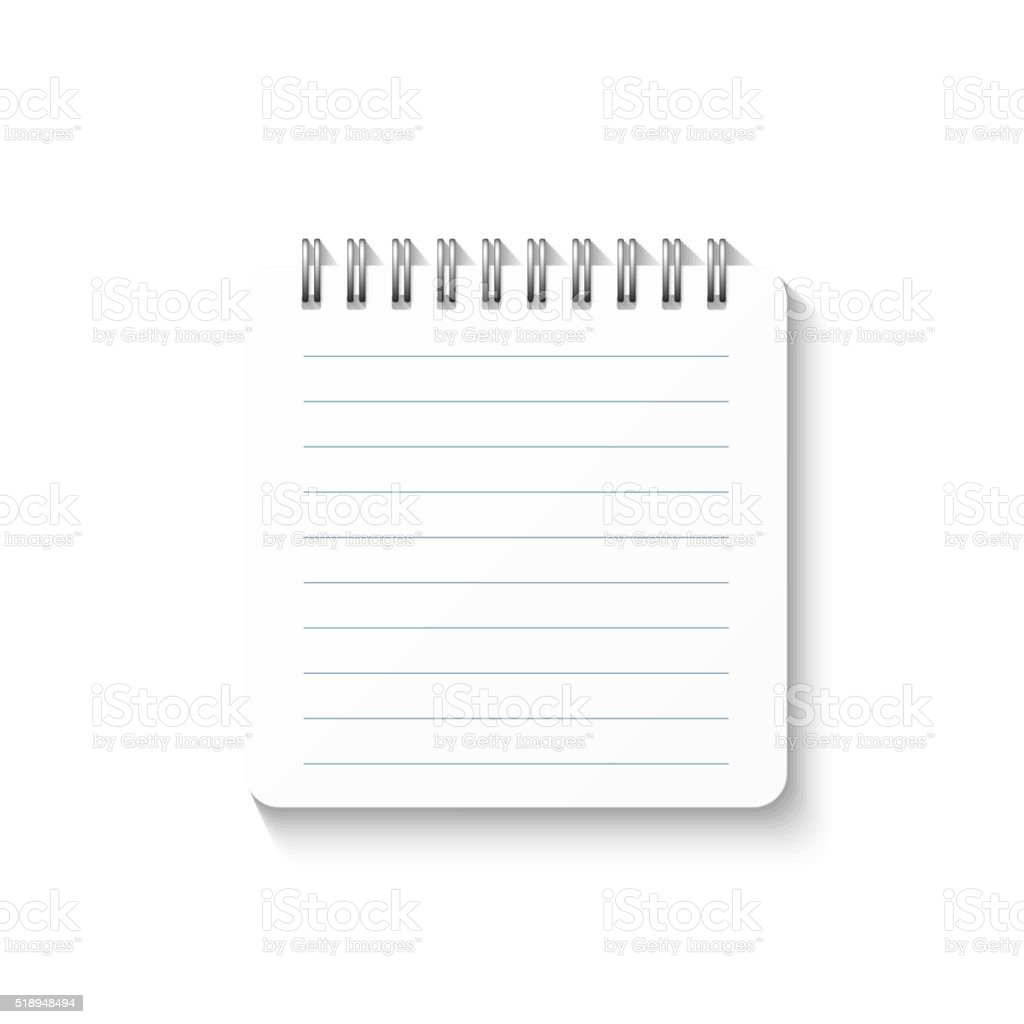 Template with spiral notebook isolated on white background. School diary. vector art illustration