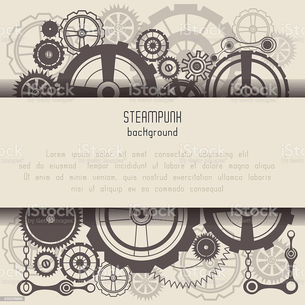 Template with steam punk cogs vector art illustration
