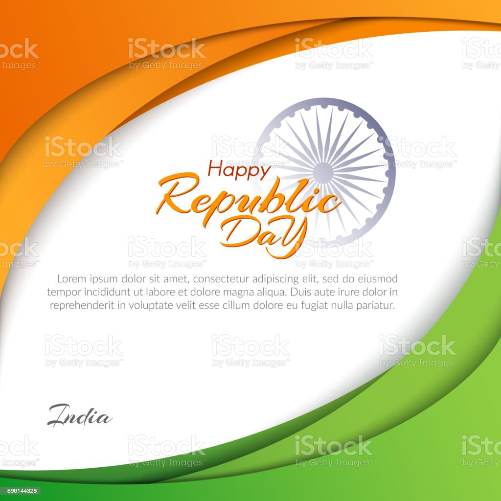 Template With The Text Of The Republic Day In India On January 26