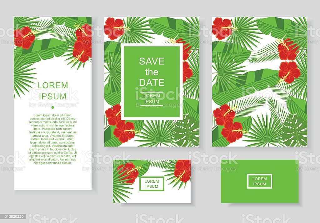 Template with tropical flowers and leaves. vector art illustration