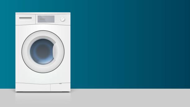 vorlage mit waschmaschine für werbung auf horizontale lange kulisse. symbol von realistischen weiß waschen maschine, vorderansicht. 3d illustration mit platz für text - waschmaschine stock-grafiken, -clipart, -cartoons und -symbole