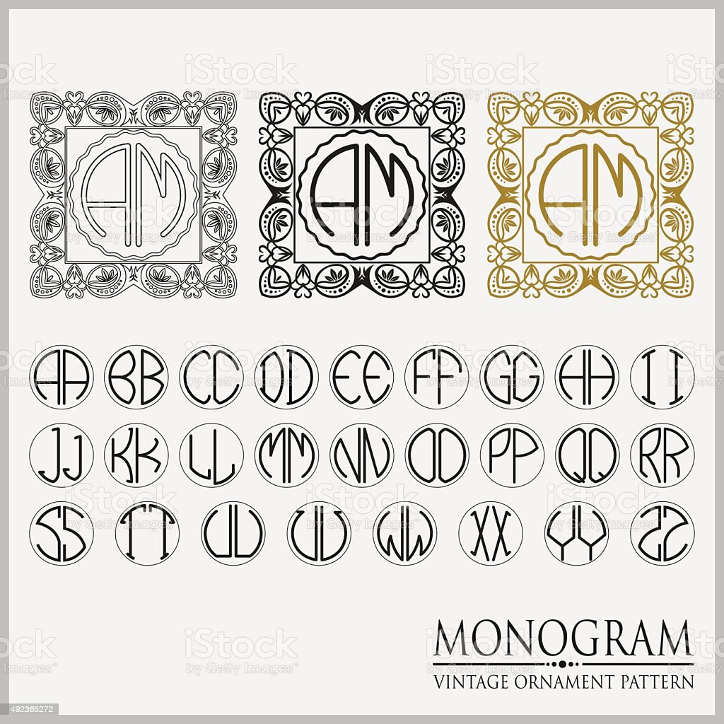 Templates Artistic Frames Monograms In The Set With The Alphabet ...
