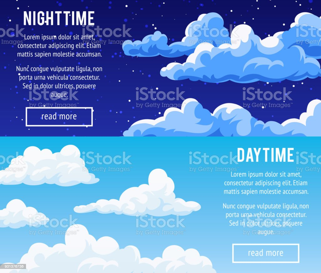 Templates design banners with clouds. vector art illustration