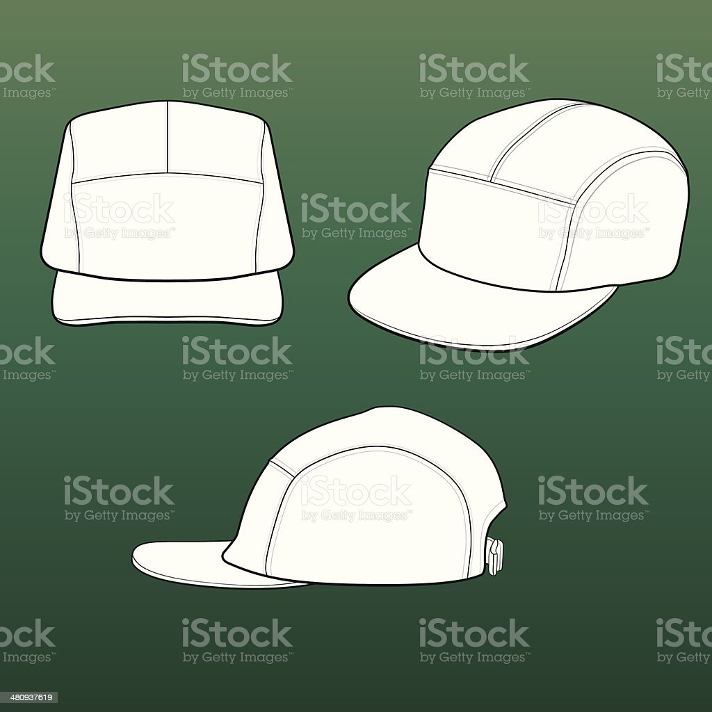 Templates for 5-panel (patrol/field) caps royalty-free stock vector art